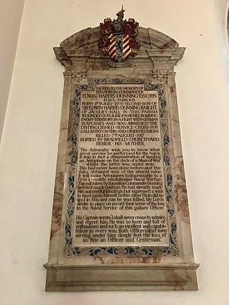 Edwin Harris Dunning - A memorial to Edwin Harris Dunning in St Lawrence's Church, Bradfield, Essex