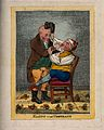 A tooth-drawer extracting a tooth from a patient who is in s Wellcome V0012061.jpg