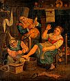 A woman and her assistant cupping a patient. Oil painting af Wellcome V0017568.jpg