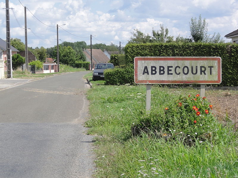 Abbécourt (Aisne) city limit sign