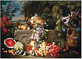 Abraham Brueghel - A still life of a watermelon, cherries, peaches, apricots, plums, pomegranates and figs, with lilies, roses, morning glory and other flowers on an acanthus stone relief.jpg