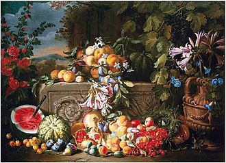 Abraham Brueghel - A still life of fruit and flowers on an acanthus stone relief