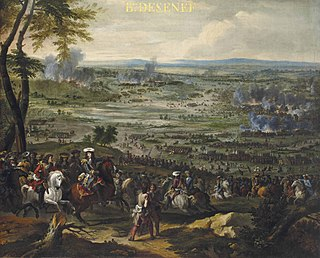 Battle of Seneffe between a French army under the command of Louis II de Bourbon, Prince de Condé and the Dutch-German-Spanish army under the Dutch Stadtholder William III of Orange