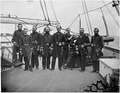 Admiral John A. Dahlgren and group. 1. Lieut. Commander E.J. Dichman, 2. Fleet Surgeon Wm. Johnson, 3. Paymaster J.H.... - NARA - 524483.tif