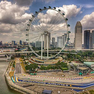 Singapore Flyer - Aerial perspective of the Singapore Flyer during the Chingay Festival preparations. Shot February 2018