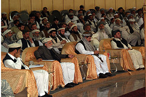 Pashtunwali - From left to right: Jamaluddin Badar, Nuristan governor, Fazlullah Wahidi, Kunar governor, Gul Agha Sherzai, Nangarhar governor, and Lutfullah Mashal, Langhman governor, listen to speakers during the first regional Jirga to talk about peace, prosperity and the rehabilitation of Afghanistan.