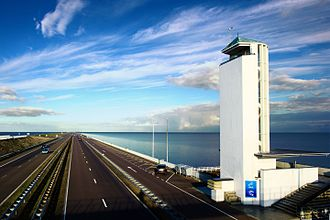 Afsluitdijk - Observation tower as seen from pedestrian bridge