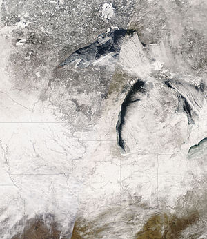 February 2007 North American blizzard - A NASA satellite image of the Great Lakes states after the snowfall