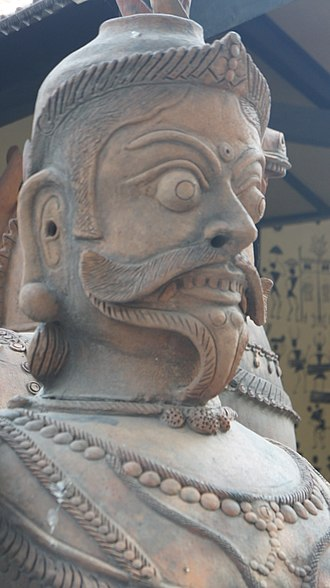 National Handicrafts and Handlooms Museum - Terracotta shrine figure of Aiyanar, who is a male village guardian deity