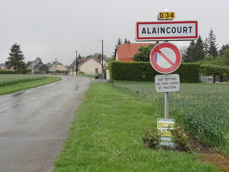 Alaincourt (Aisne) city limit sign
