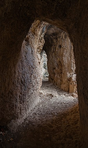 "Roman aqueduct - ""Galería de los Espejos"" (Gallery of Mirrors), a tunneled part of a 25 km Roman aqueduct built during the 1st century AD near Albarracín (Spain)"