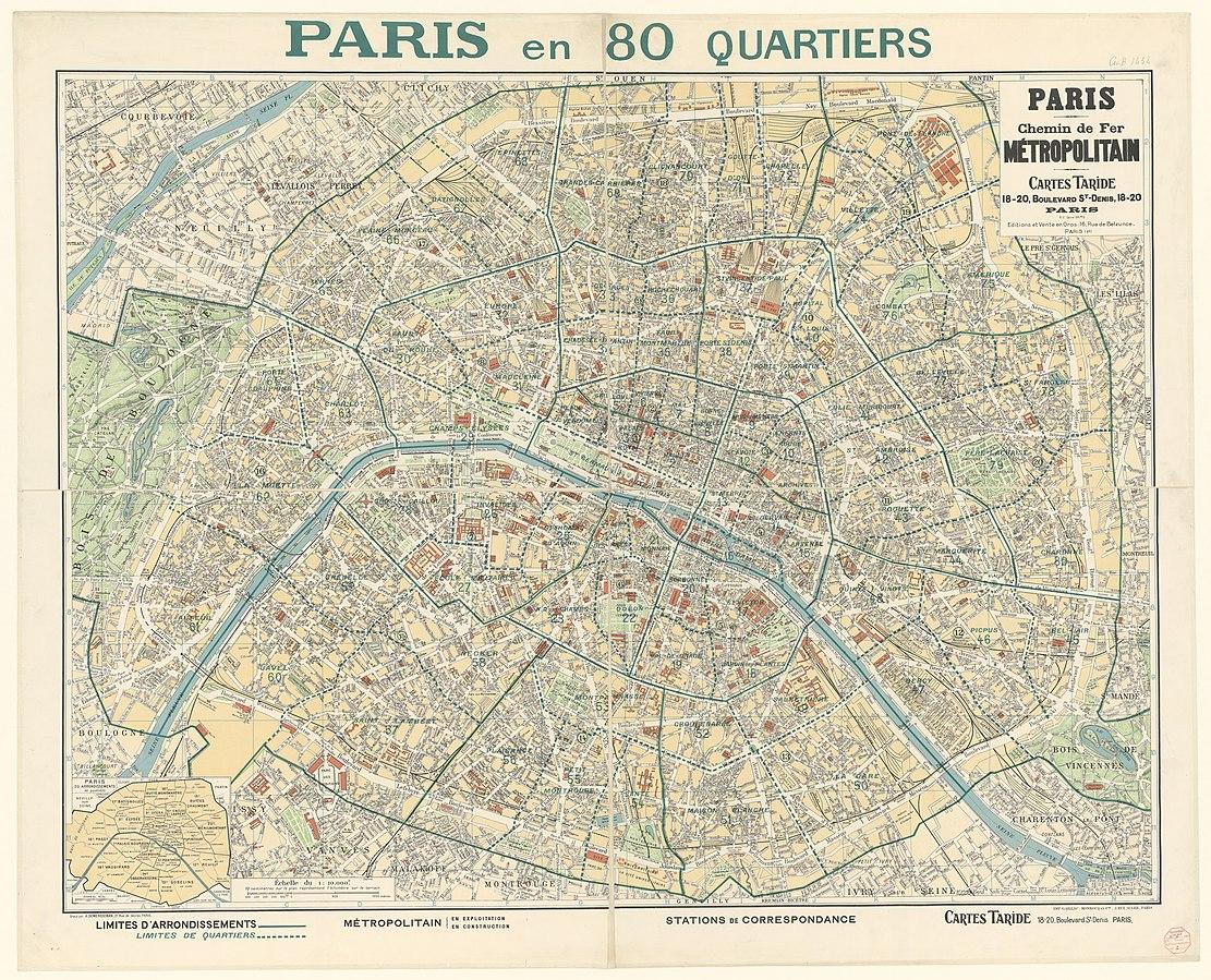Map of Paris in 1933