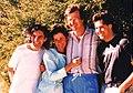 Albert Lee, Vince Gill + hosts in Australia, February 1988.jpg