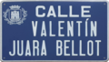 Alcalá de Henares (RPS 07-02-2021) calle Valentín Juara Bellot, placa indicativa.png