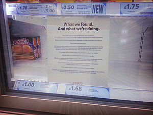 2013 horse meat scandal - Sign in a Tesco supermarket following the removal of beefburgers adulterated with horse meat