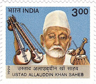 Allauddin Khan - Khan on a 1999 stamp of India
