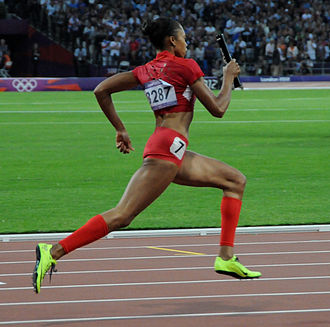 Allyson Felix - Felix running second leg in 4 × 400 relay, Olympic games, London 2012