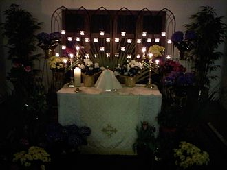 Altar of repose - Altar of repose at St James Episcopal Church, Columbus, Ohio where Eucharistic hosts are reserved in a veiled ciborium overnight from Maundy Thursday to Good Friday.