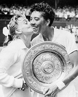 Althea Gibson - Gibson is congratulated by Darlene Hard after defeating her in the 1957 Wimbledon women's singles championship. The pair were Wimbledon women's doubles champions that same year.