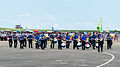 Alumni of Chung Cheng Armed Forces Preparatory School Drum Corps Marching on Ching Chuang Kang AFB Apron 20140719.jpg