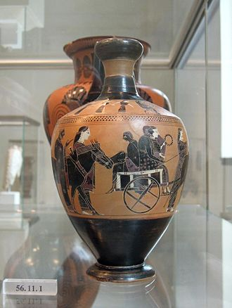 Amasis Painter - Lekythos attributed to the Amasis Painter showing a wedding procession. Gift of Walter C. Baker, 1956, 56.11.1, Metropolitan Museum of Art.