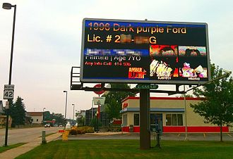 AMBER Alert - An example of a July 2010 Amber Alert from Milwaukee, Wisconsin, where electronic LED billboards, such as this one in Sheboygan, Wisconsin owned by Lamar, are used to relay details of the incident to the public.