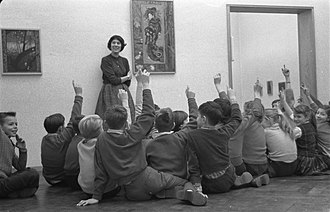 Museum education - Children during a museum lesson at the Stedelijk Museum Amsterdam in 1960