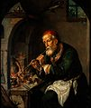 An alchemist blowing on a fire to heat a still (?). Oil pain Wellcome V0017690.jpg