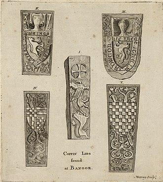 Bangor Cathedral - Ancient coffin lids at Bangor. Illustrated for Pennant's A Tour in Wales, 1778