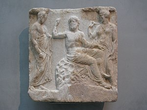 Votive offering - Ancient Greek votive relief, 400 BC. Asclepios is sitting on an omphalos between his wife Epione and a man clad in himation, Acropolis Museum, Athens