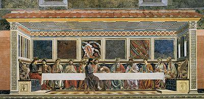 Última Cena, de Andrea del Castagno, 1445-1450, fresco, 453 × 975 cm, Cenáculo de Santa Apolonia, Florencia