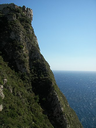 Angelokastro (Corfu) - Northern side of Angelokastro. The precipitous nature of the terrain is apparent.