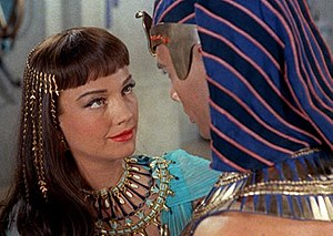 Cropped screenshot of Anne Baxter with Yul Bry...