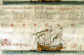 Anthony Roll - A view of the second roll of the Anthony Roll, showing the layout used throughout the document. The information for each vessel is displayed in columns directly below its illustration, here with the text for the Grand Mistress (seen only partially above the text) and a full view of the illustration of the galleass Anne Gallant.
