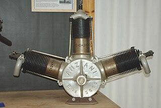 Anzani 3-cylinder fan engines 1900s French piston aircraft engine range