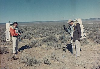 Apollo 15 - Gordon (right) and Schmitt during geology training