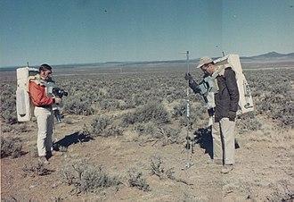 Apollo 15 - Gordon (right) and Schmitt during geology training