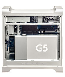 The inside of a Power Mac G5, late 2005 model