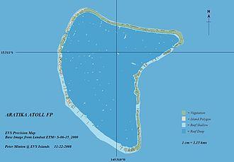 Aratika - Image: Aratika Atoll EVS Precision Map (1 115,000)