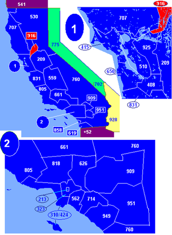 Map of California area codes in blue (and border states) with 916 in red