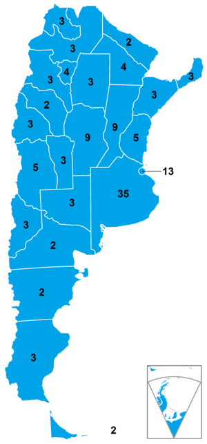 Argentine legislative election, 2017 - Number of Deputies at stake in each district.