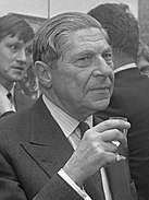 A black and white image of Arthur Koestler in 1969