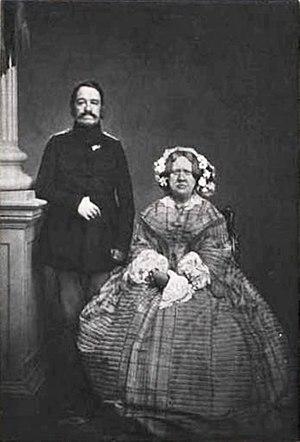 Princess Caroline of Denmark - Princess Caroline and her husband Prince Ferdinand as Hereditary Prince, c. 1863.