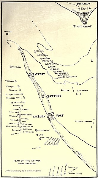 Battle of Kinburn (1855) - Map showing the arrangement of the fleet and the fortifications during the battle