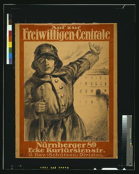 File:Auf zur Freiwilligen-Centrale, Nürnberger 89, Ecke Kurfürstenstr., G. Kav. (Schützen) Division LCCN2004665960.jpg