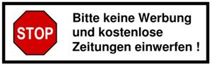Deutsch: Aufkleber bitte keine Werbung und kos...