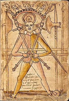 The First Page Of Codex Wallerstein Shows Typical Arms 15th Century Individual Combat Including Longsword Rondel Dagger Messer
