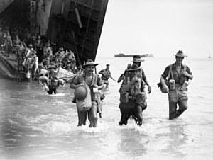 Battle of North Borneo - Australian troops comprising the members of the 24th Brigade landing on Labuan on 10 June 1945.