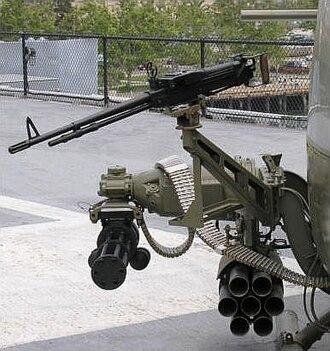 U.S. helicopter armament subsystems - Typical armament for UH-1 gunship, M134 minigun and Mk 40 FFAR with swivel-mounted M60 machine gun