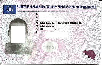 European driving licence - Image: BE driving license